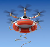 Drone with the lifebuoy — Stock Photo