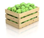 Green apples in the wooden crate — Foto Stock