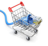 Network cable in the shopping cart — Stock Photo