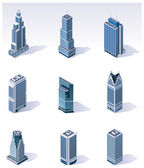 Vector isometric buildings. Skyscrapers — Stok Vektör