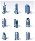 Vector isometrische gebouwen. wolkenkrabbers — Stockvector
