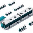 Vector isometric bus set - Stok Vektör