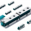 Vector isometric bus set - Imagen vectorial