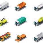 Vector isometric transport. Trucks — Stock Vector