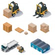 Vector warehouse equipment icon set - Imagens vectoriais em stock