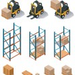 Vector warehouse equipment icon set - Stok Vektör
