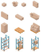 Vector boxes and shelving — Stock Vector