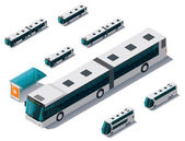 Vector isometric bus set — Stock Vector