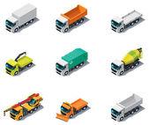 Vector isometrische vervoer. vrachtwagens — Stockvector