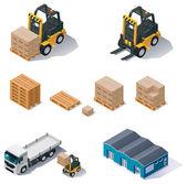 Entrepôt matériel icon set vector — Vecteur