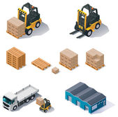 Vector warehouse equipment icon set — Stock Vector