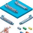 Vector container ship with crane - Vettoriali Stock