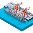 Vector container ship with cranes - Vettoriali Stock