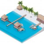 Vector isometric tropical resort — Stock Vector