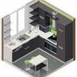 Vector isometric kitchen icon - Stock vektor
