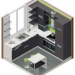 Vector isometric kitchen icon — Stock Vector