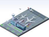 Aeroporto isometrico vector — Vettoriale Stock
