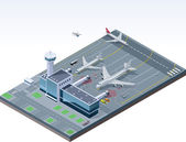 Vector isometric airport — Vettoriale Stock