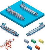 вектор контейнеровоз с краном — Cтоковый вектор