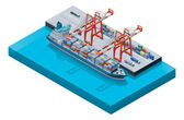 Vector container ship with cranes — Vector de stock