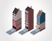 Vector isometric old buildings. Part 2 — Stock Vector