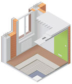 Vector isometric apartment cutaway icon — 图库矢量图片
