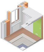 Vector isometric apartment cutaway icon — Stock Vector