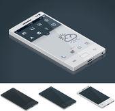 Vektör izometrik genel smartphone — Stok Vektör