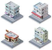 Conjunto de edificios isométrica vector — Vector de stock