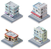 Vector isometric buildings set — Stock Vector