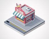 Vector isometric ice cream store — Stock Vector