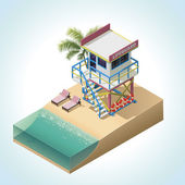 Vector isometric lifeguard tower — Stock Vector