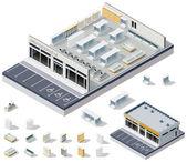 Vector isometrische diy supermarkt interieur plan — Stockvector