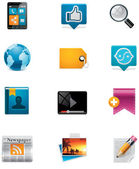 Vektor-kommunikation und social-media-icon-set. pa — Stockvektor