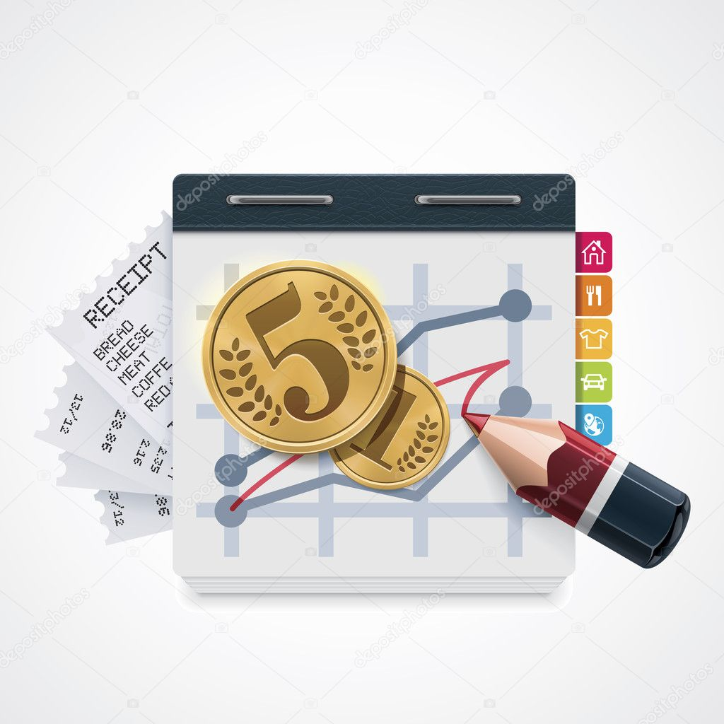 Detailed icon representing rising charts, money and household expenditures — Векторная иллюстрация #14634433