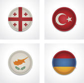 Vector flags of countries as fabric badges — Stock Vector