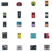 Vector guitar effects icons set — Stock Vector