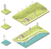 Isometric wind farm — Stock Vector