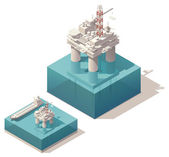 Isometric oil platform — Stock Vector