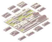 Isometric railroad yard — Stock Vector