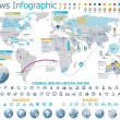 Elements for the news infographic with map — Stock Vector