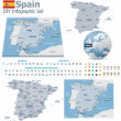 Spain maps with markers — Stock Vector #31334607