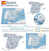 Spain maps with markers — Stock Vector