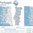Portugal maps with markers — Imagen vectorial