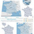 France maps with markers — Stock Vector