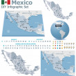 United Mexican States maps with markers — Stock Vector #31347889