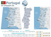 Portugal maps with markers — Stock Vector