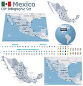 United Mexican States maps with markers — Stock Vector