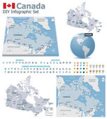 Canada maps with markers — Stock Vector