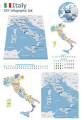 Italy maps with markers — Stock Vector